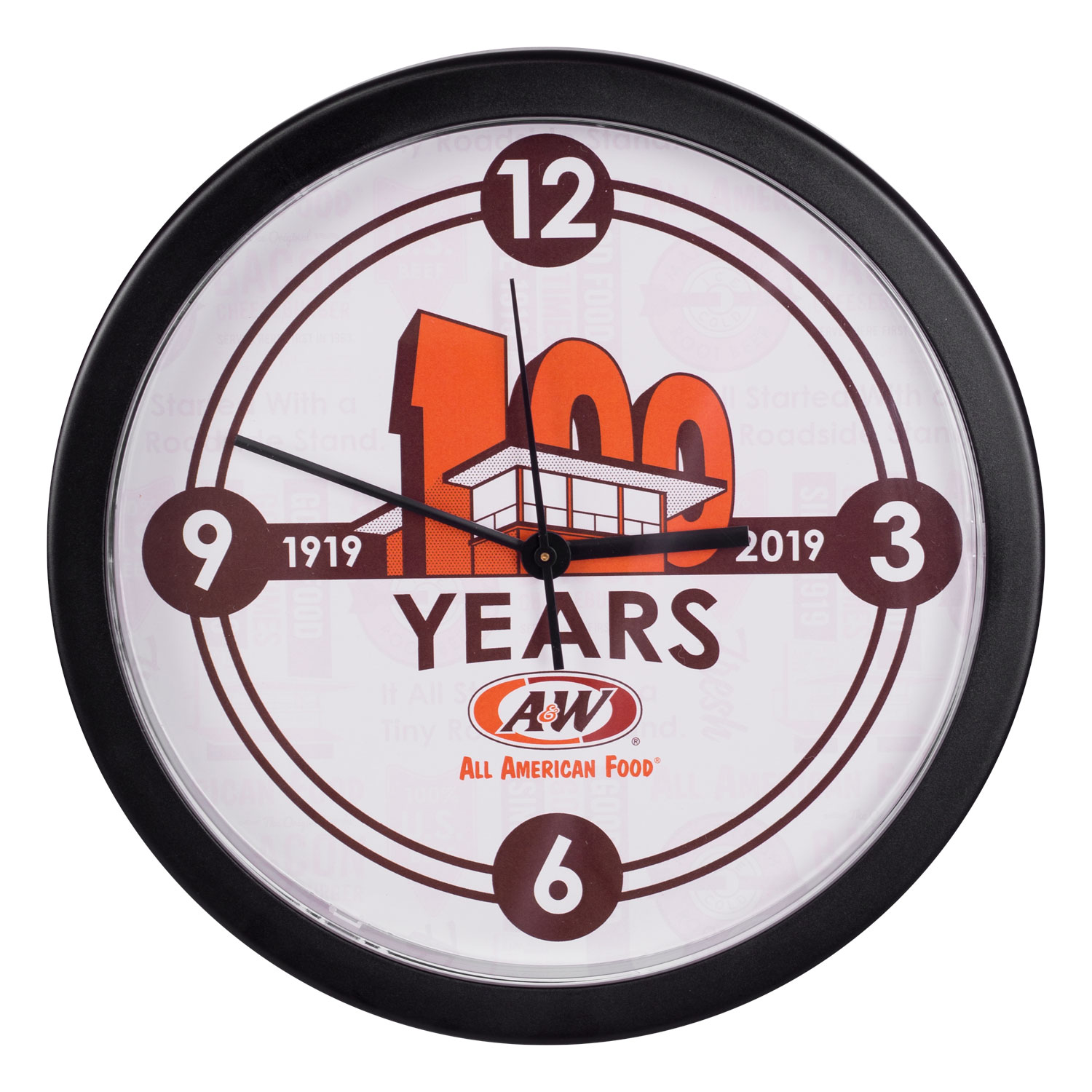 Clock featuring A&W Restaurants 100th Anniversary logo