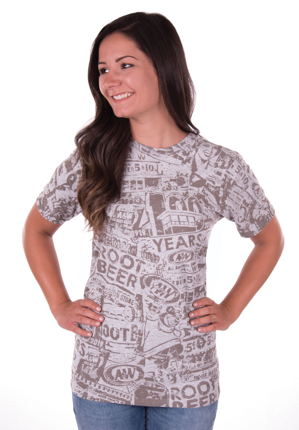 Grey tee with A&W 100th Anniversary collage print