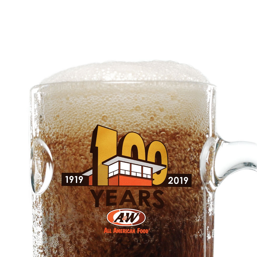 100th Anniversary Collector's Mug filled with A&W Root Beer