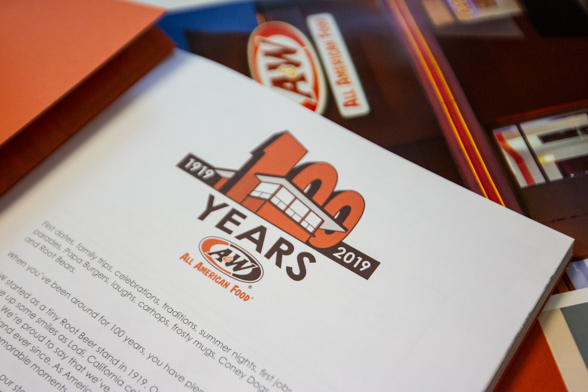 First page of A&W 100th Anniversary Book featuring 100th Anniversary Logo and text