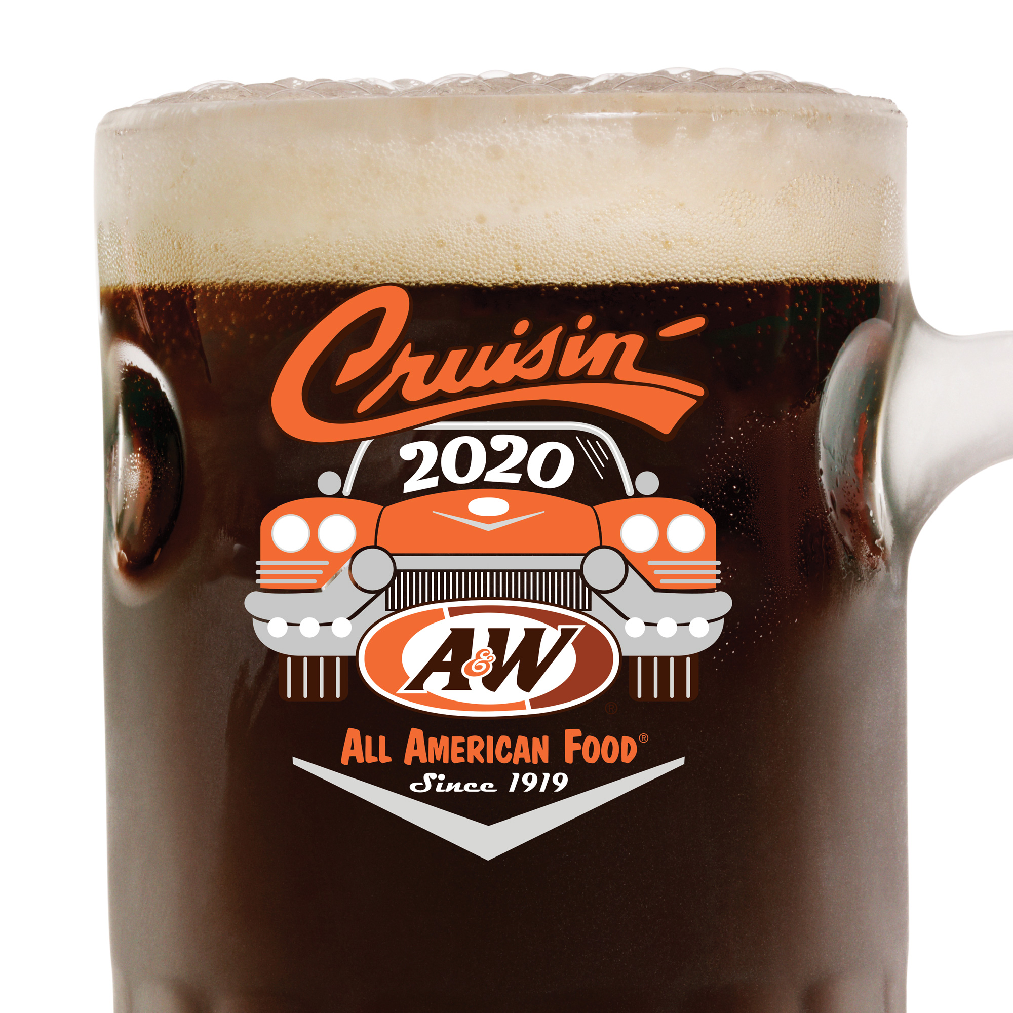 "Root Beer in an A&W Mug. Logo is an orange car. Text on top reads ""Cruisin'"" with ""2020"" text inside car windshield. A&W Restaurants logo is on the bottom of the car."