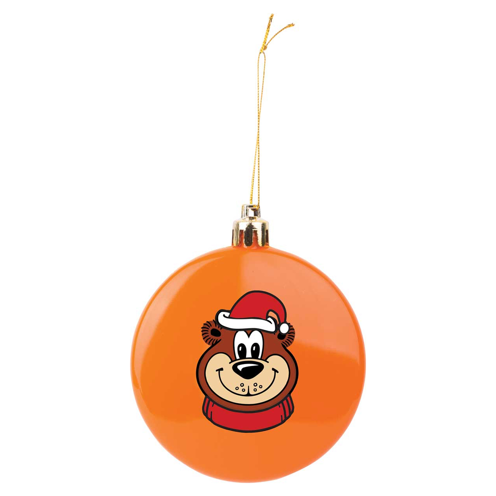 Orange circular ornament featuring artwork of Rooty the Great Root Bear in a Santa hat