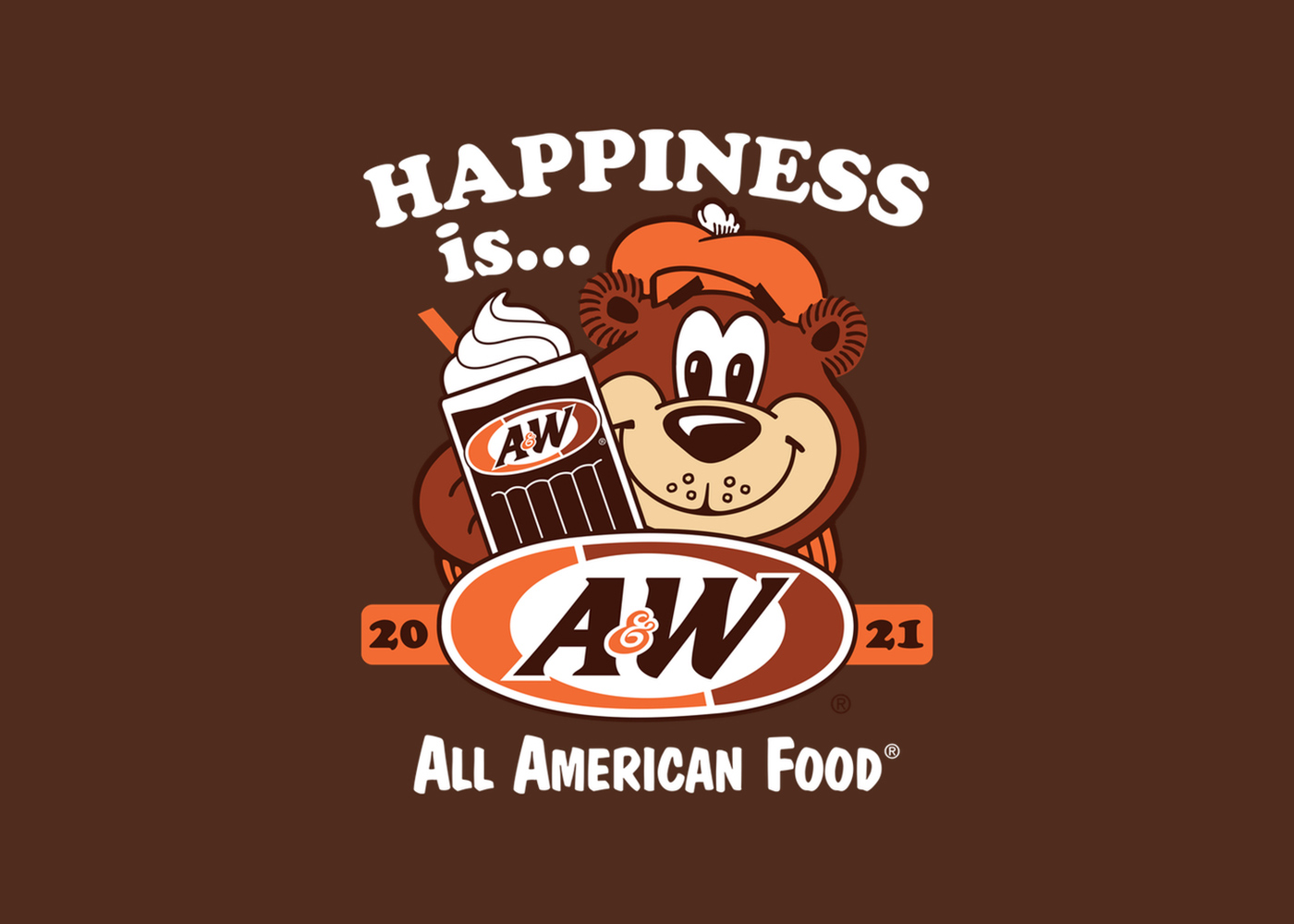 Background is brown. Artwork of Rooty the Great Root Bear holding an A&W Root Beer Float is in the center. Text above Rooty is white and reads