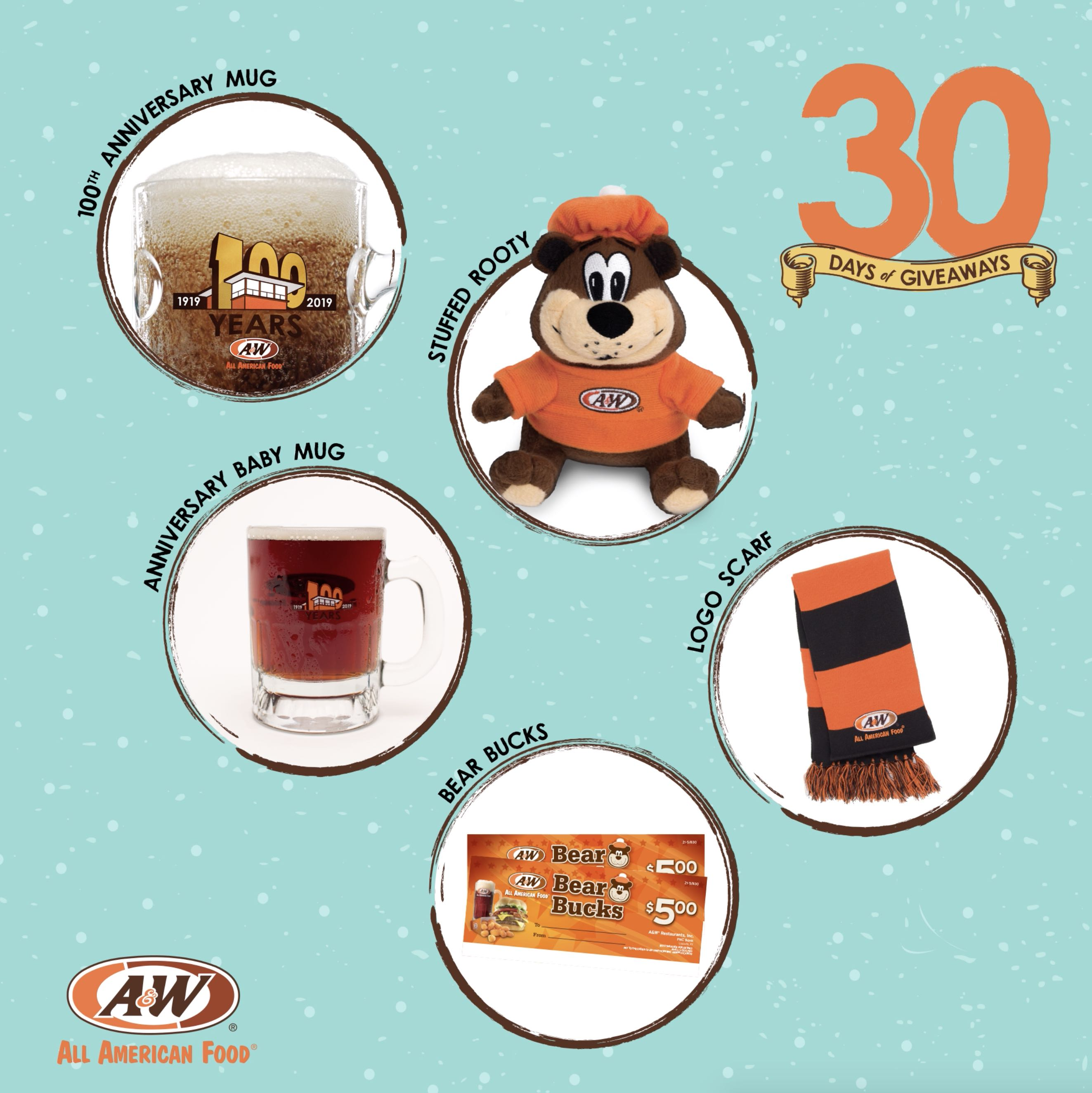 Bear Bucks, Stuffed Rooty, 100th Anniversary Baby Mug, 100th Anniversary Collector's Mug, Scarf on a blue background. 30 Days of Giveaways logo is on the top right side of the image. A&W Restaurants logo is on the bottom left side of the image.