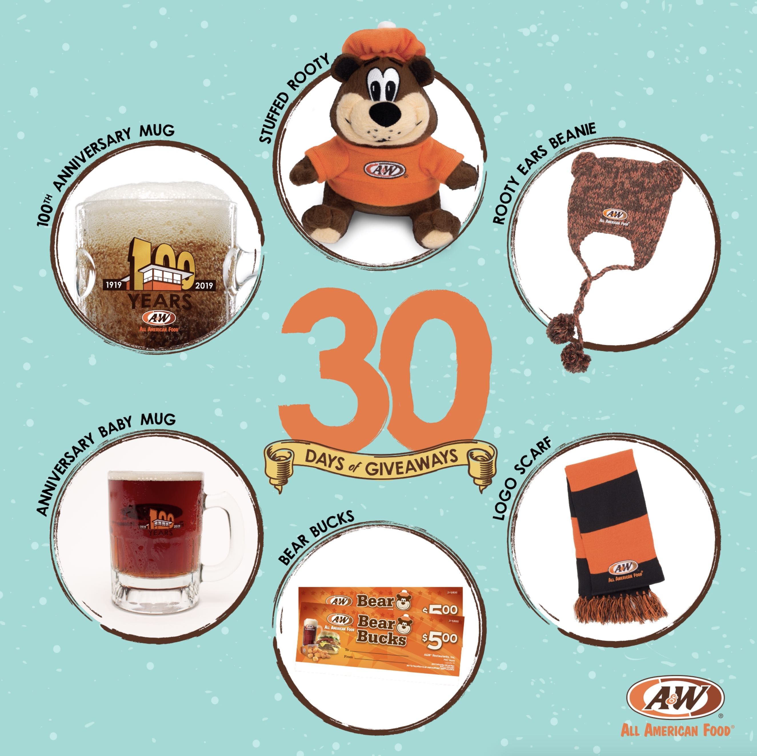 Bear Bucks, Stuffed Rooty, 100th Anniversary Baby Mug, 100th Anniversary Collector's Mug, Scarf, Rooty Ear Beanie on a blue background. 30 Days of Giveaways logo is in the center of the image with the A&W Restaurants logo in the bottom right.