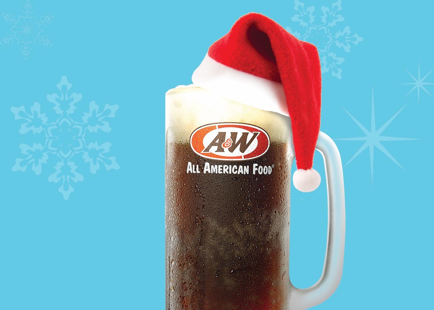A&W Root Beer Mug with Santa hat