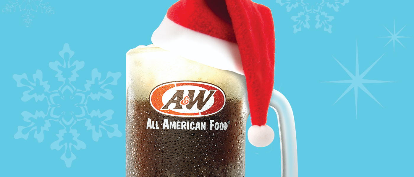 A&W Root Beer mug wearing a Santa hat on a blue background.