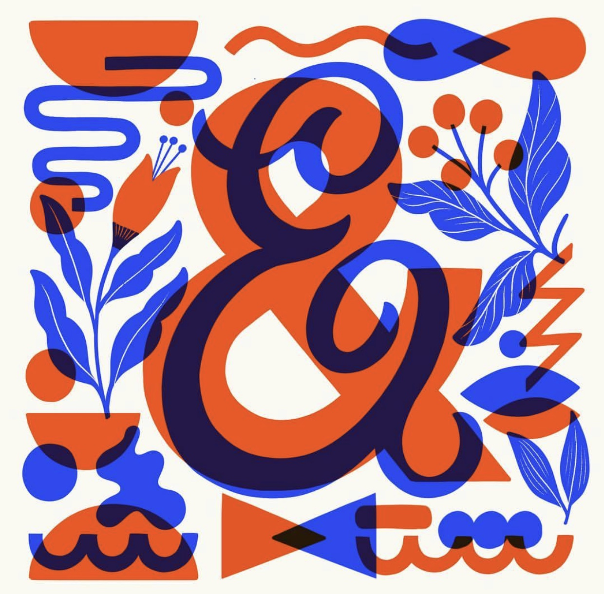 Blue and Orange Ampersands with Background Designs