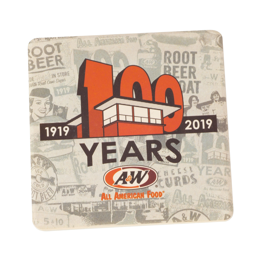 Gray coaster with vintage A&W Restaurants photos collage and orange 100th Anniversary logo overlaid on top.