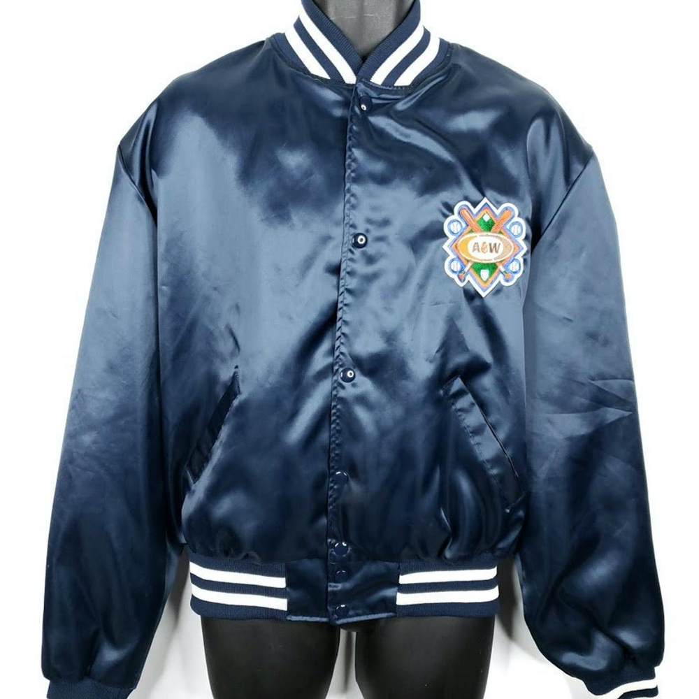 Vintage navy A&W bomber jacket with white trim on bottom of jacket and on sleeves.