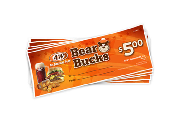 "A&W Bear Bucks. Orange background with text reading ""Bear Bucks"" in the center at the top with an illustration of Rooty the Great Root Bear to the right. Text reading ""$5.00"" is on the far right side. Photo of A&W Root Beer, Burger, and Cheese Curds is on the far left side with A&W Restaurants logo above photo."