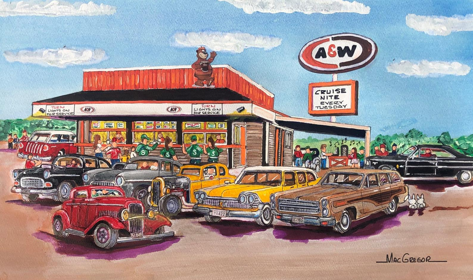 Art print of an A&W Restaurant exterior with cars parked outside.