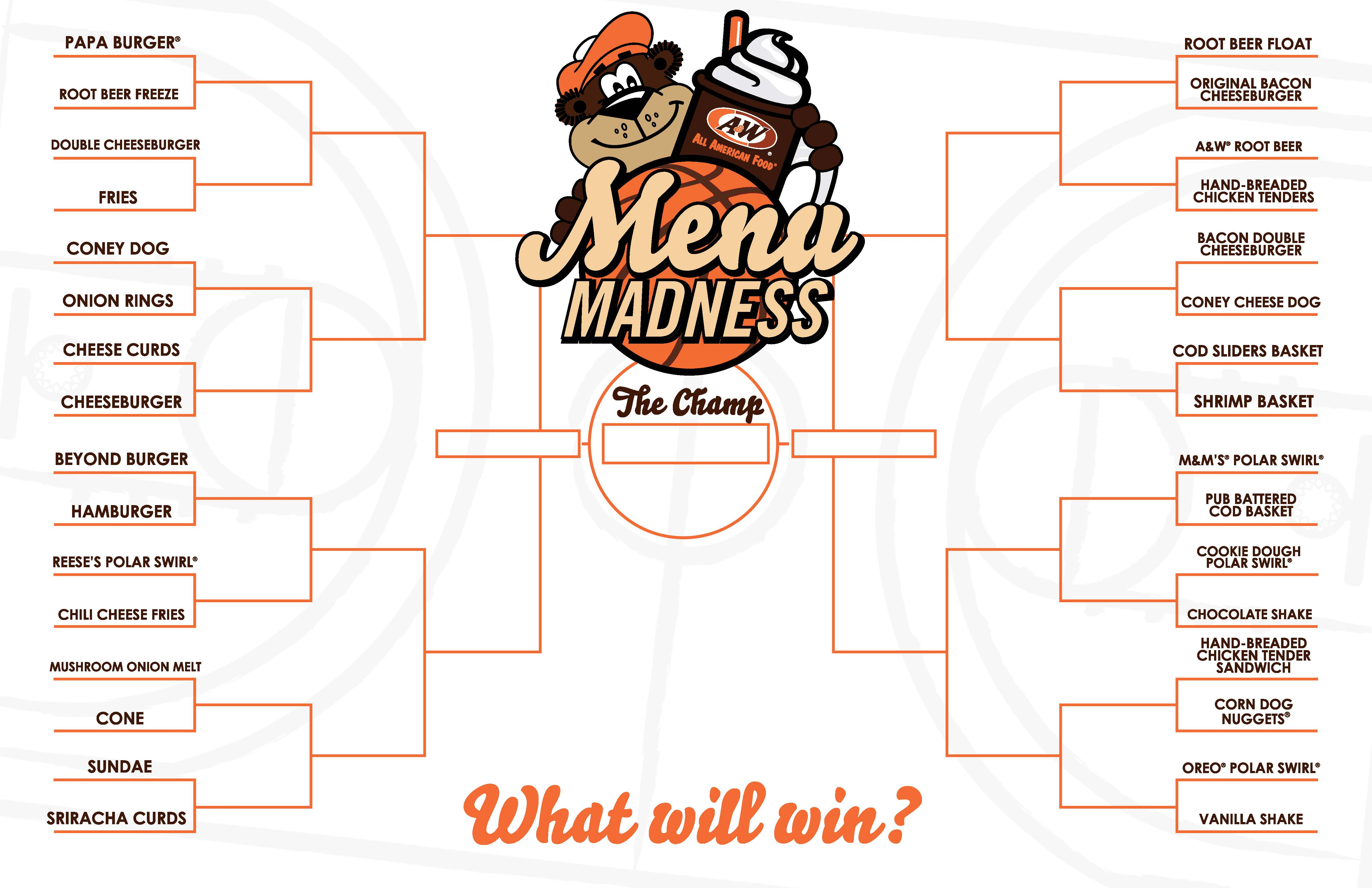 A&W Menu Madness Bracket 2020