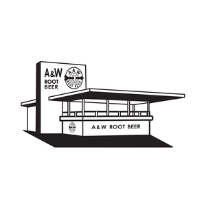 Black and white drawing of A&W Root Beer Stand