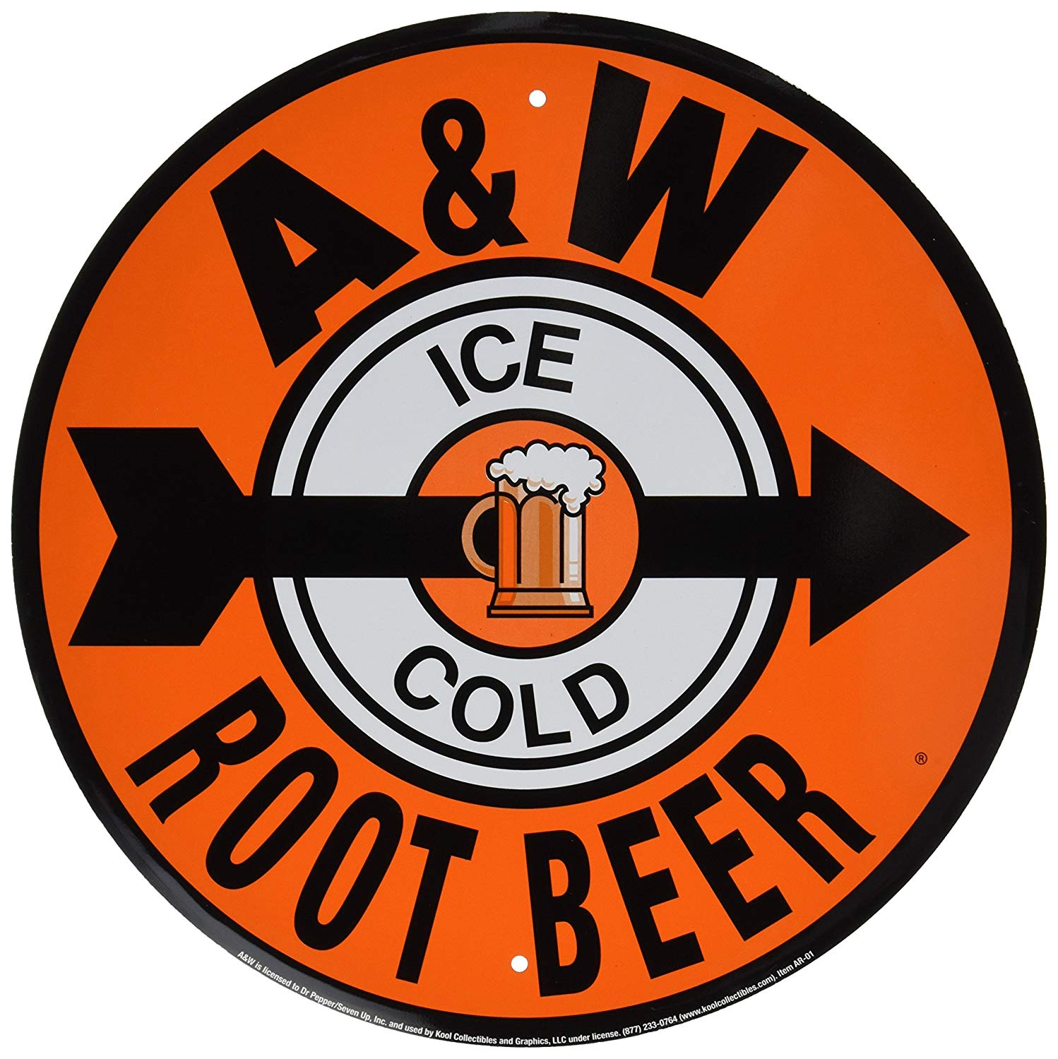"Round sign is orange in color with text ""A&W"" on top and ""Root Beer"" below. Middle features a black arrow pointing to the right with a white oval with text ""Ice"" on top and ""Cold"" on the bottom. Illustration of a frosty mug of root beer is in the center."