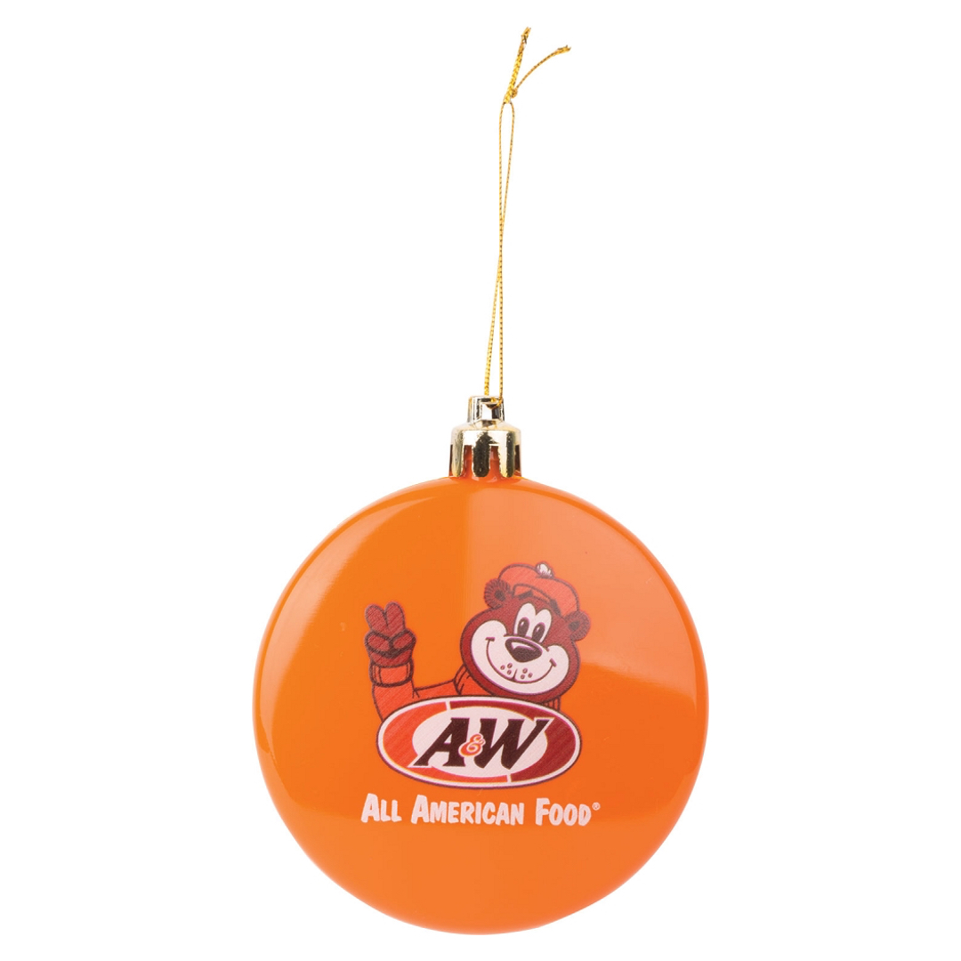 Round ornament is orange in color with gold string. Drawing of Rooty the Great Root Bear is on the front with the A&W Restaurants logo below.