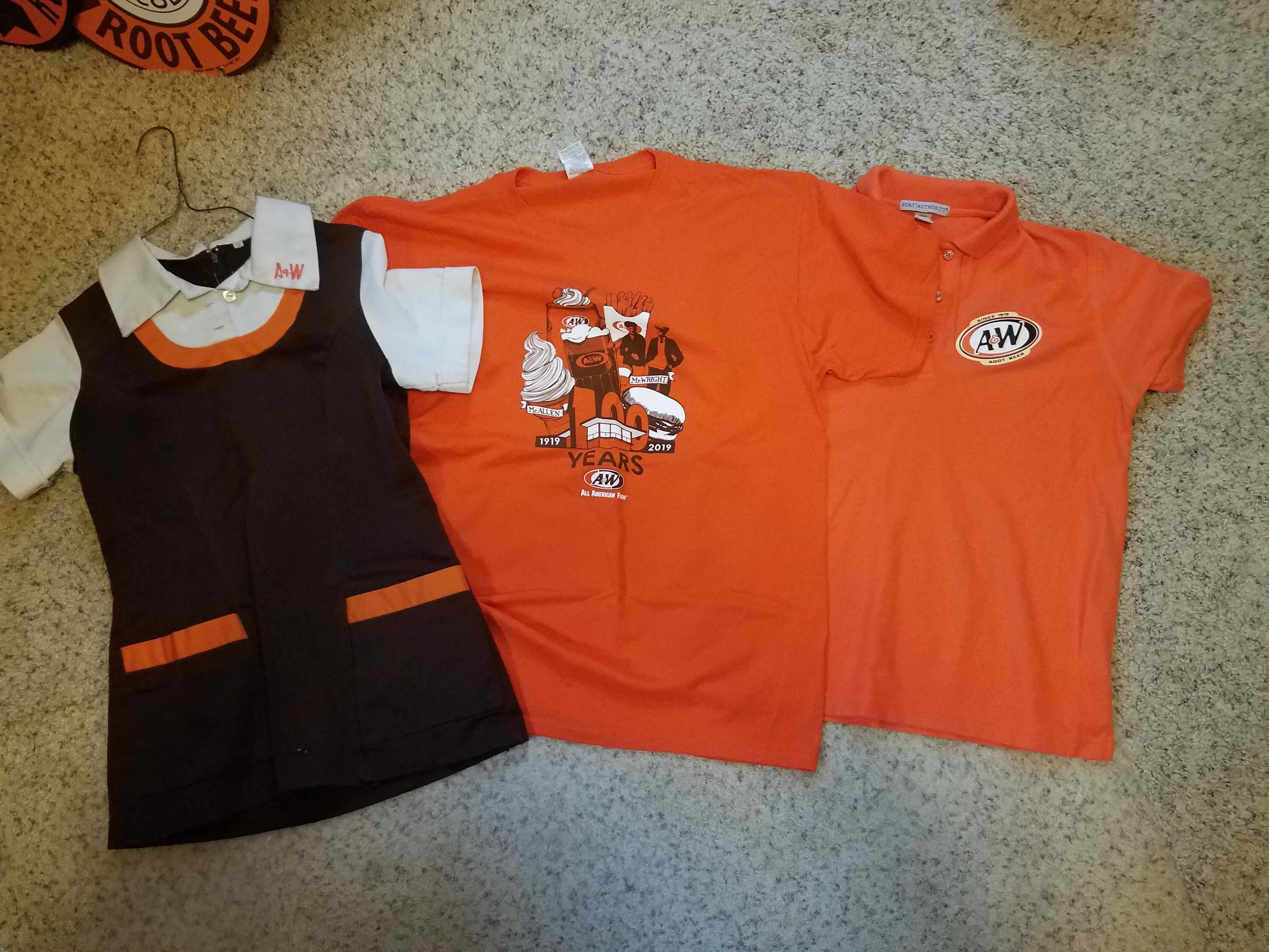 Various A&W Restaurants shirts from over the years.