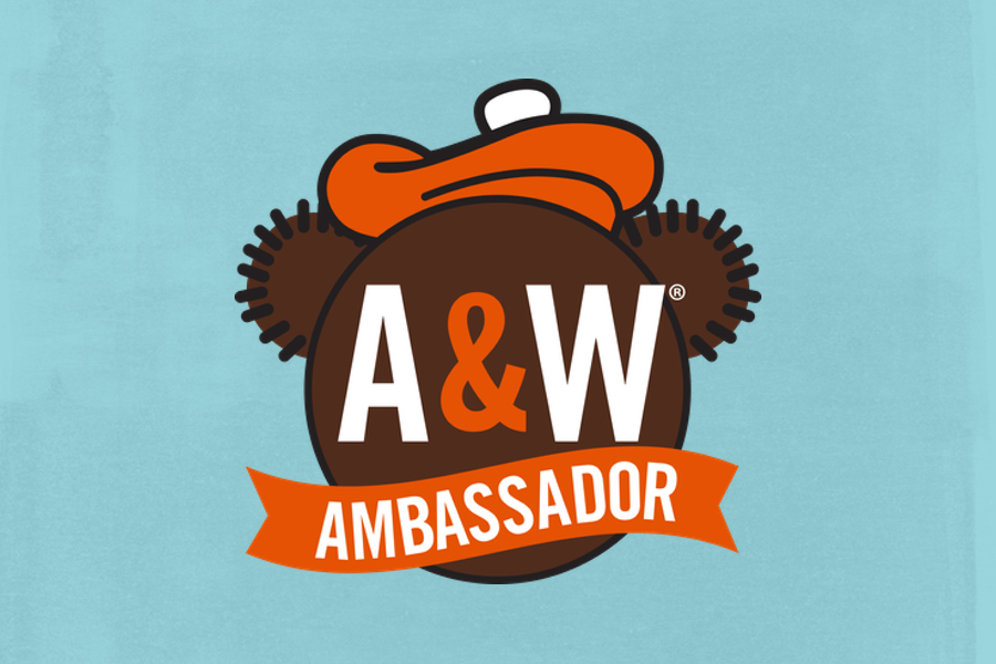 Background is blue. A&W Ambassador Logo is in the middle of the background. Logo features text