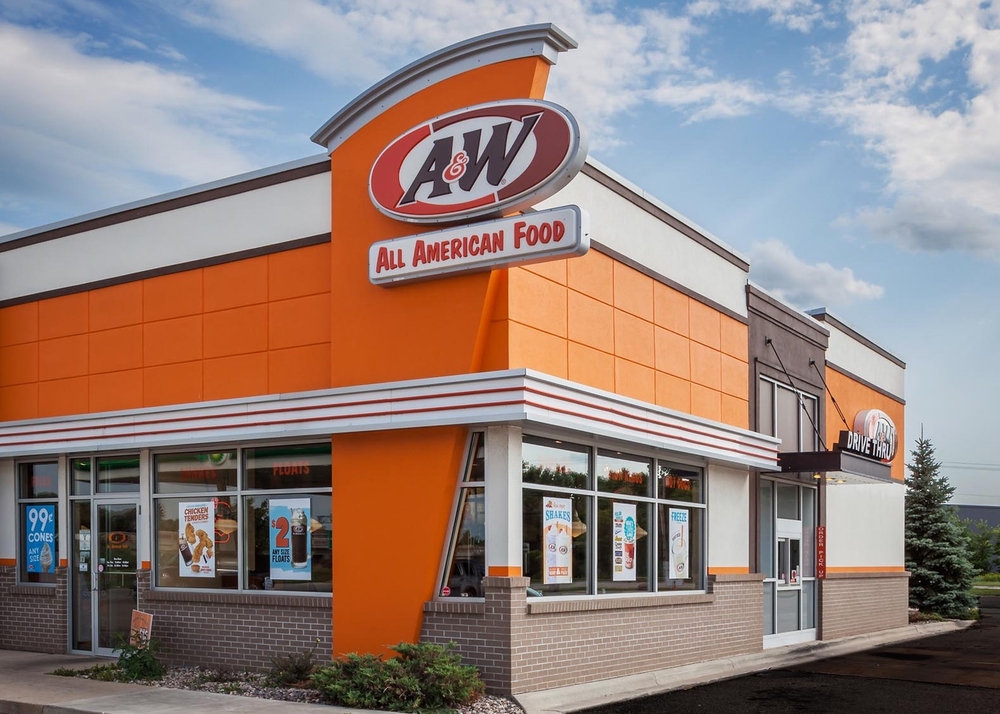 Exterior shot of an A&W restaurant in sunny weather