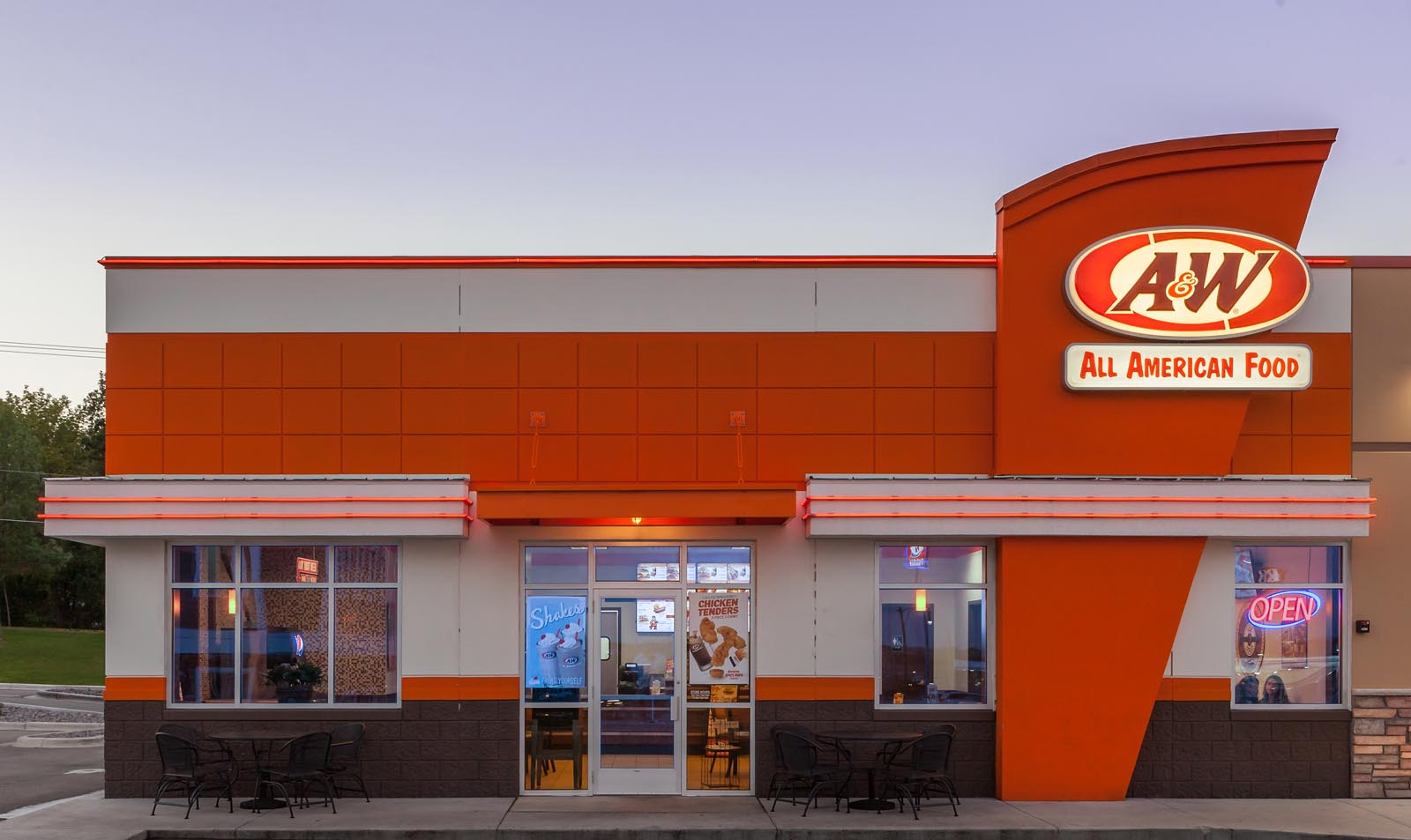 Front of an A&W Restaurant building