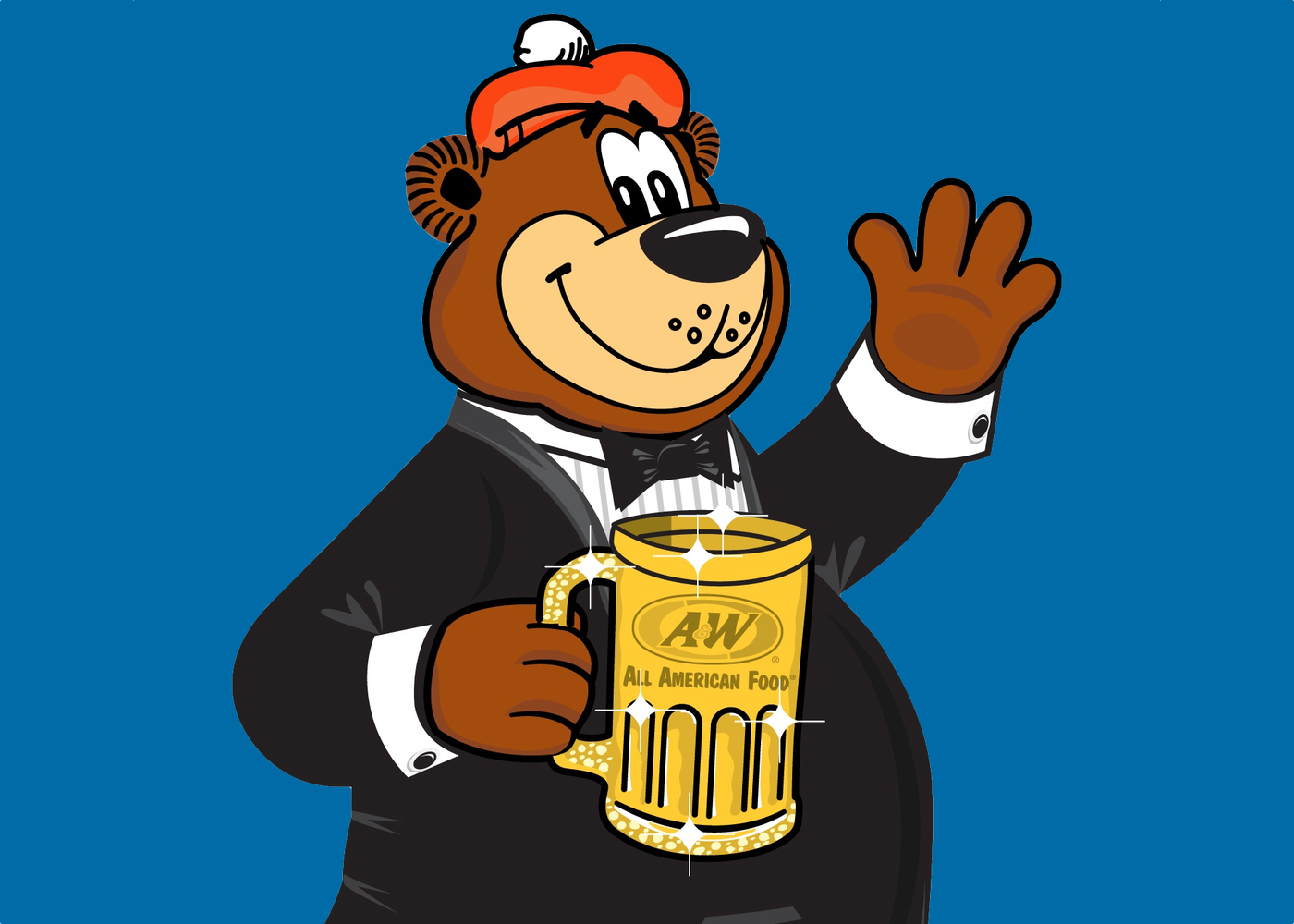 Rooty the Great Root Bear in a tuxedo holding a golden mug