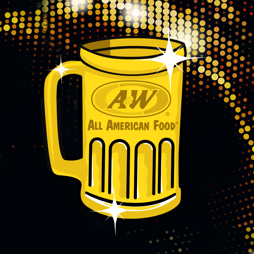 Golden A&W Root Beer Mug