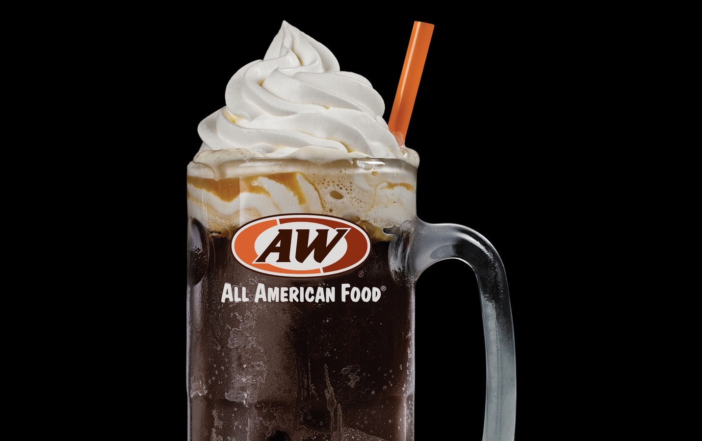 A&W Root Beer Float in a frosty mug with missing ampersand in the logo