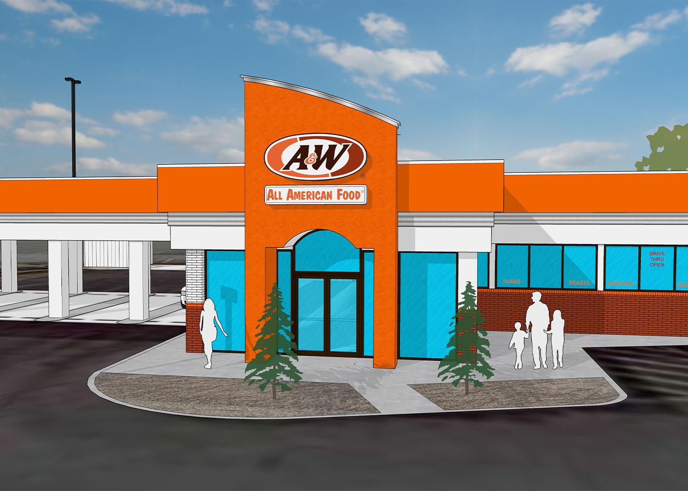 Rendering of A&W Restaurant exterior in Belleville, Illinois.