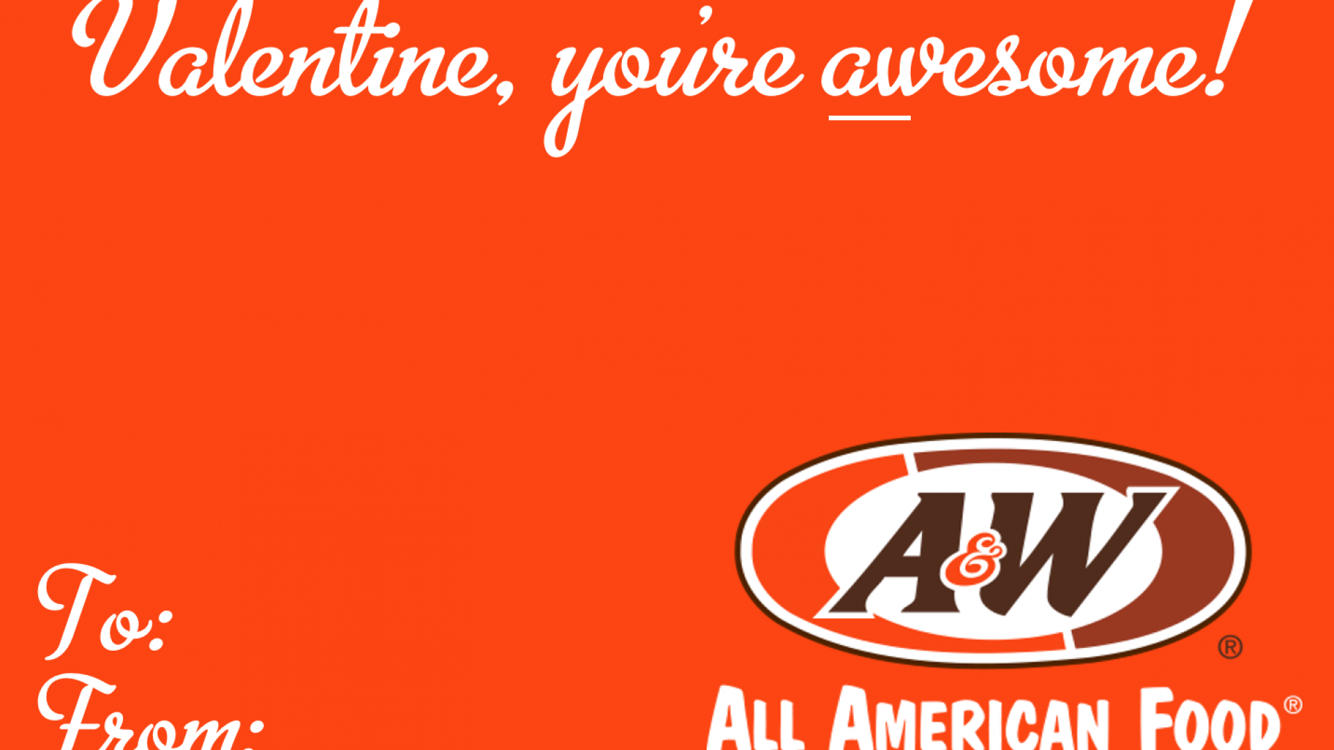 A&W Valentine's Day Card