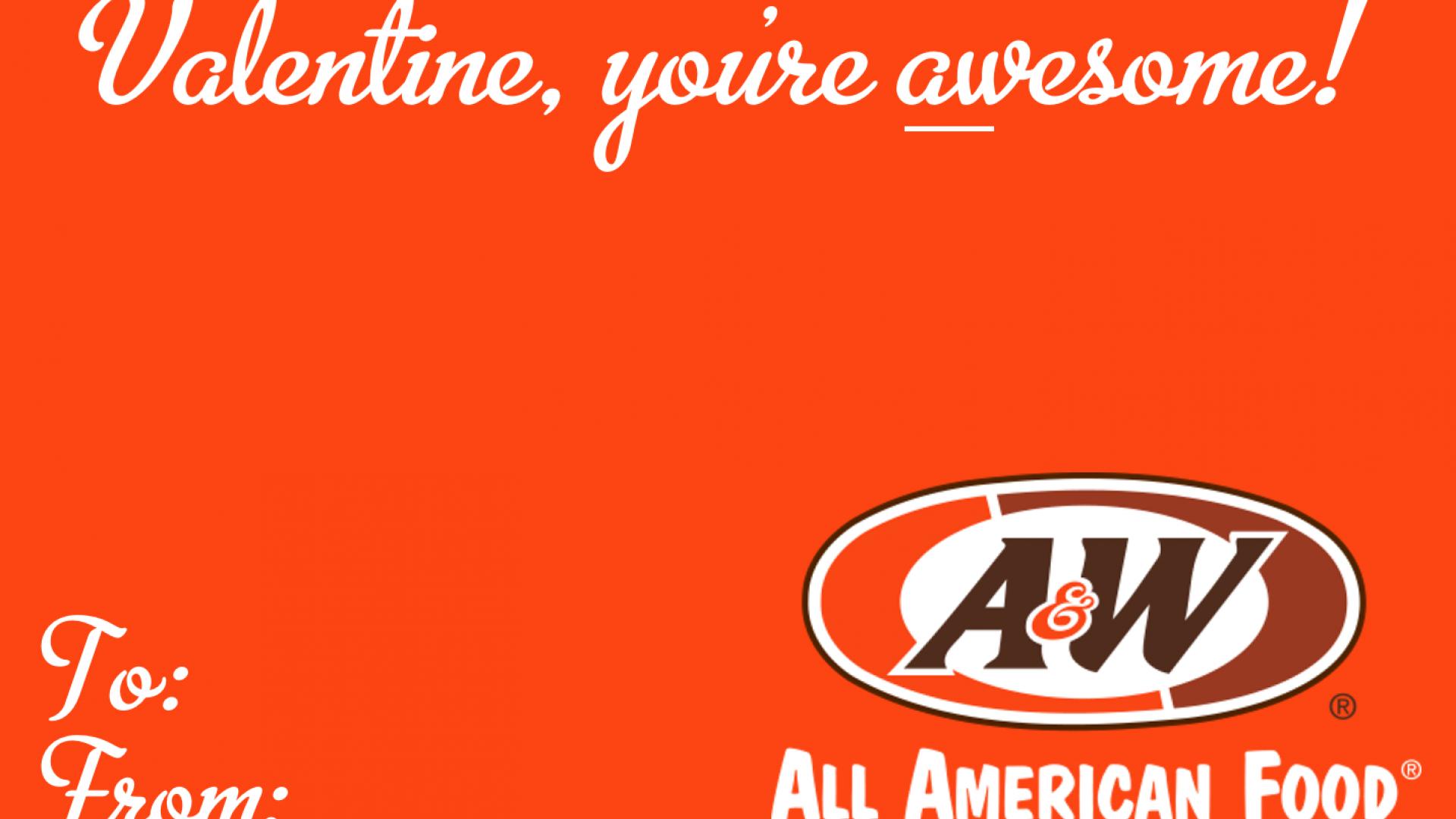 A&W Valentine's Day Card
