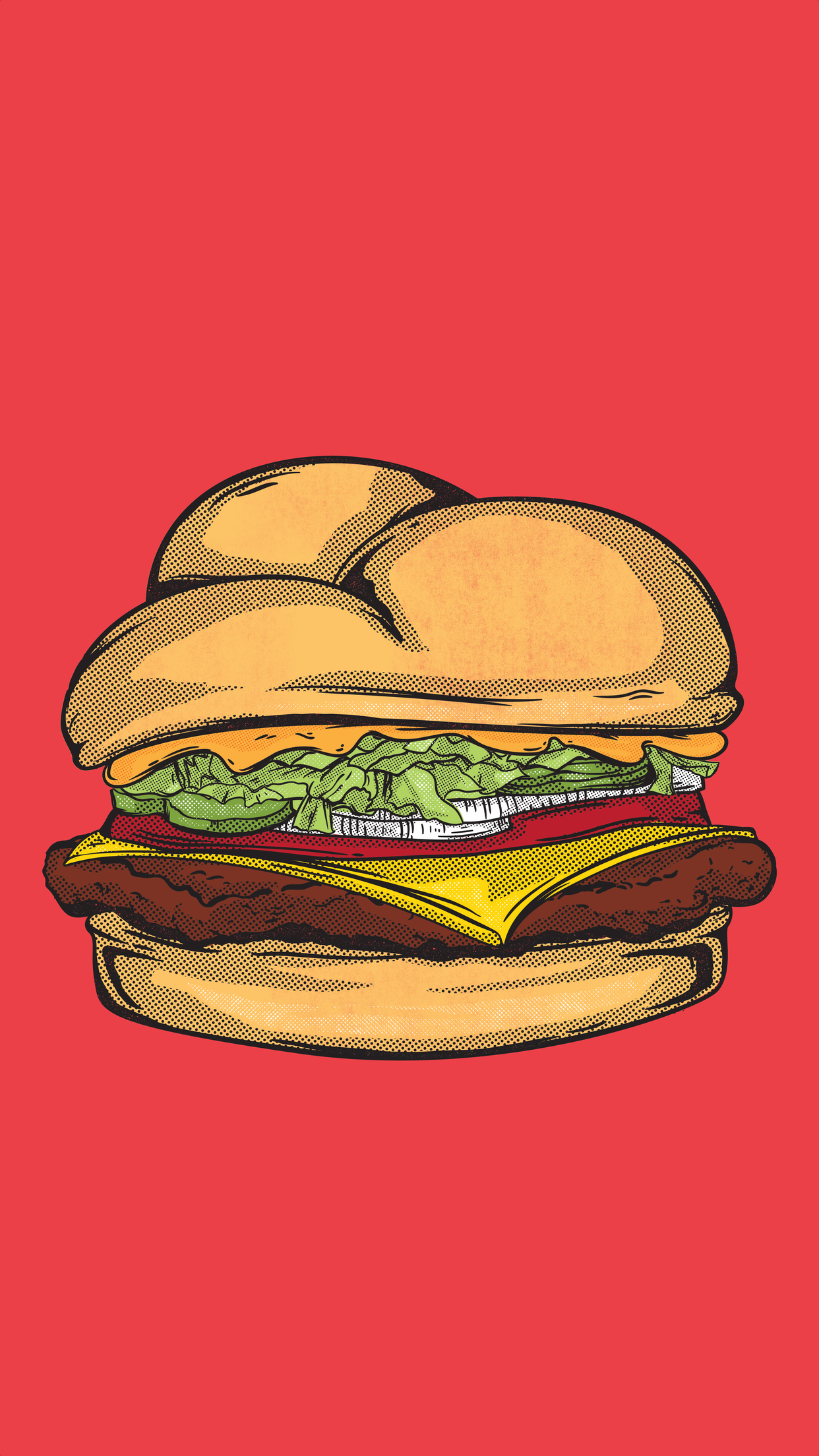 Cheeseburger on red background