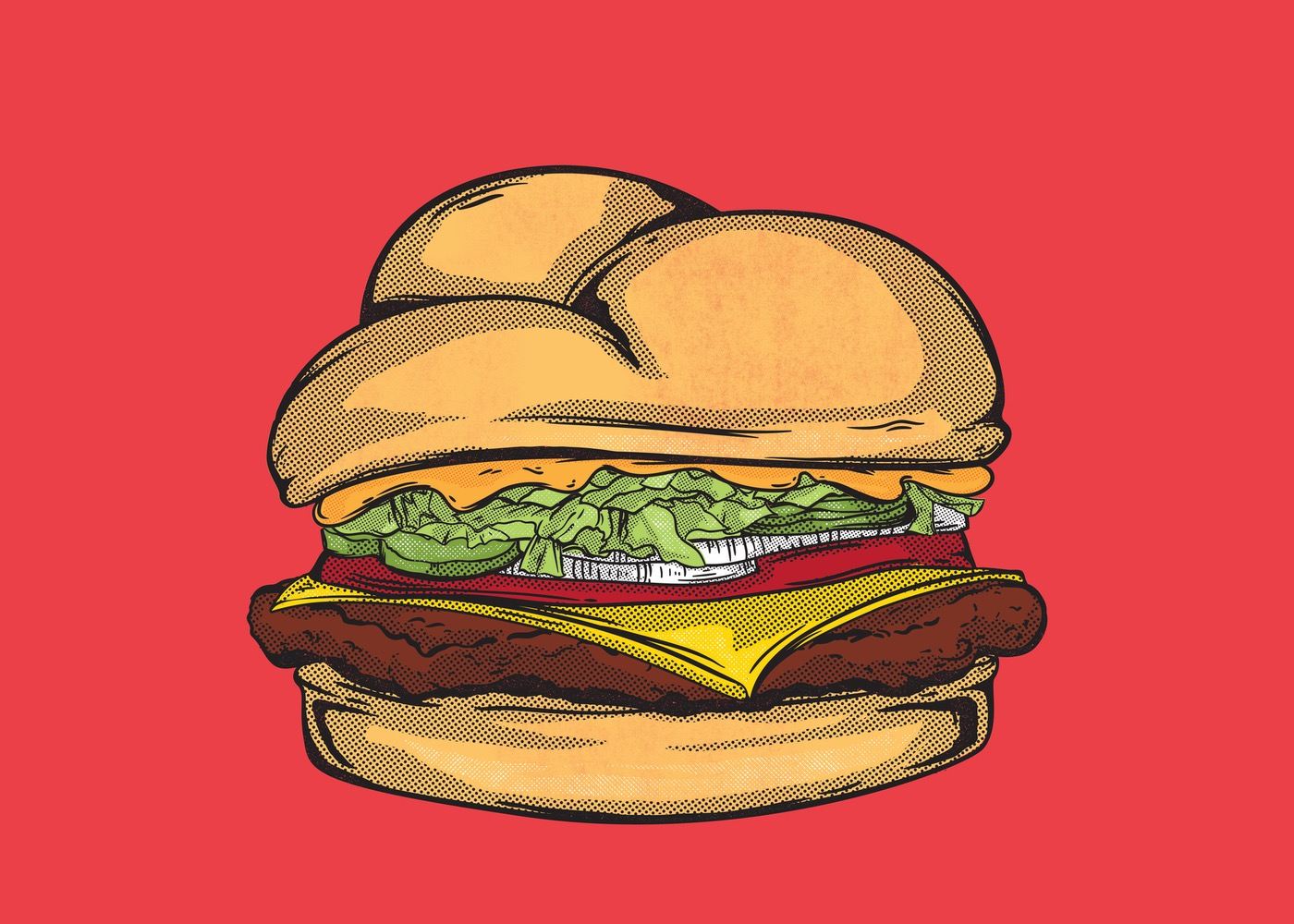 Drawing of burger on red background
