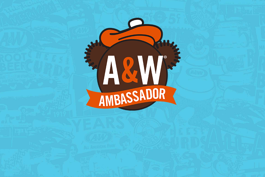 Image of Rooty's face in the center with text 'A&W Ambassador' overlayed on a blue background.