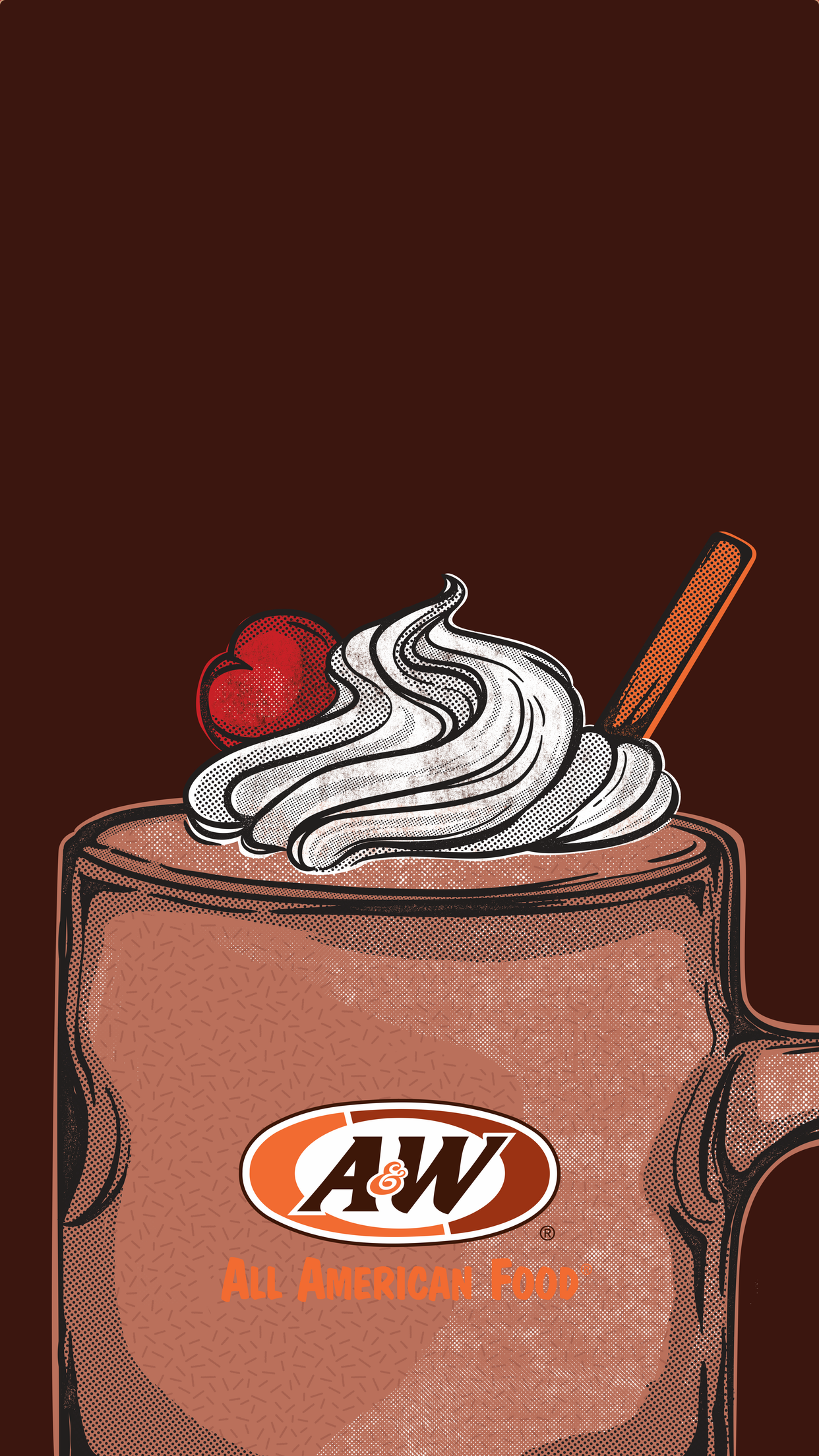 Chocolate shake on brown background