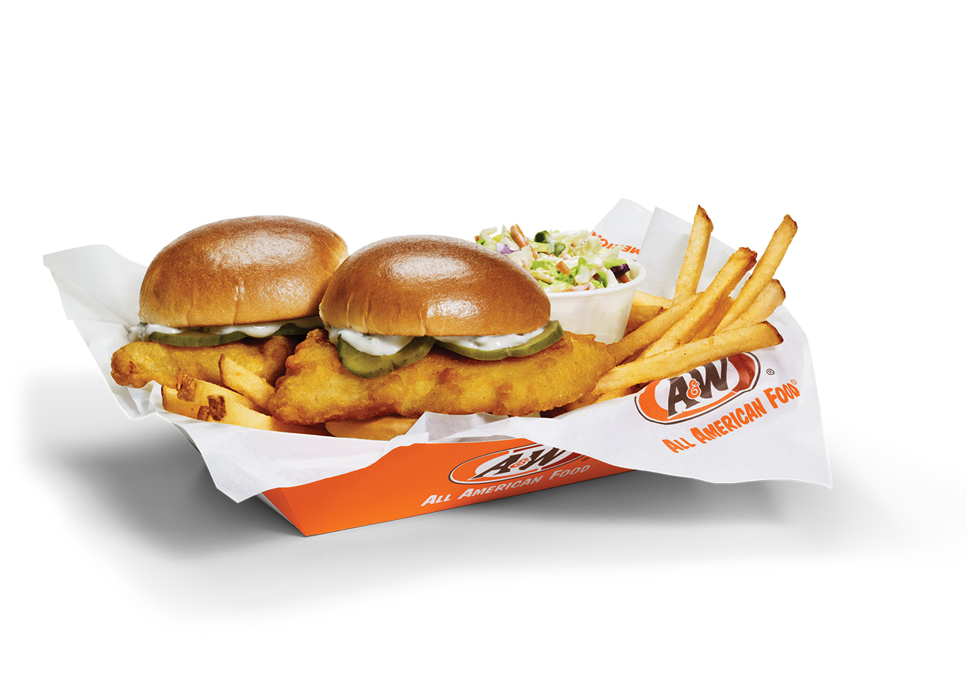 Photo of Cod Sliders Basket featuring two Cod Sliders, fries, and coleslaw in A&W-branded packaging.