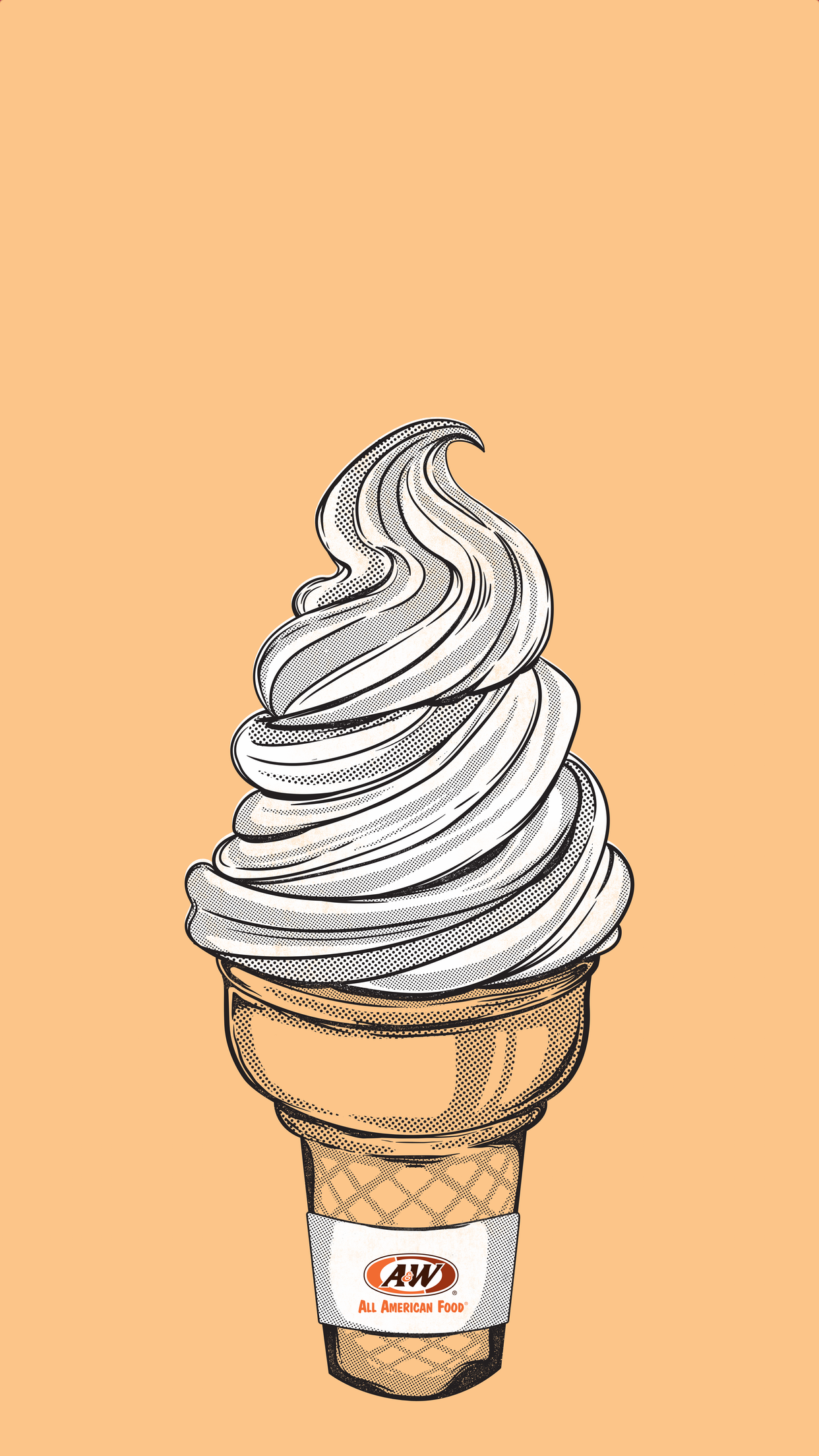 Soft serve cone on yellow background