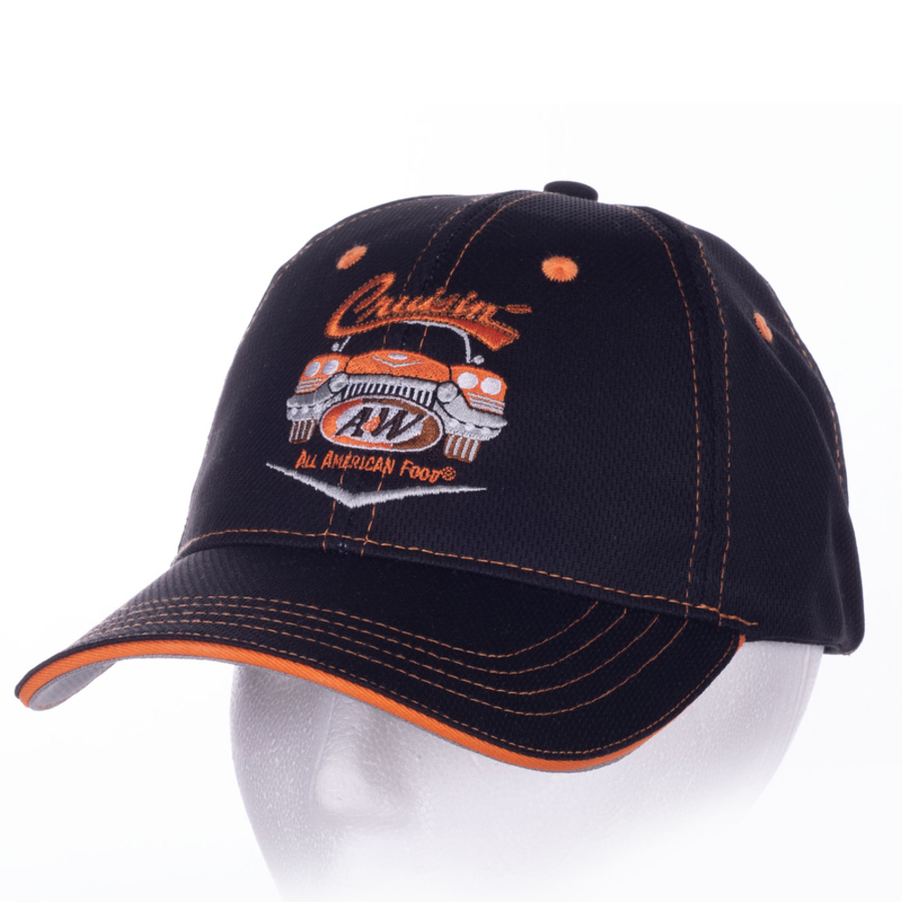 Black baseball cap with orange stitching and A&W Restaurants 2020 logo in the center.