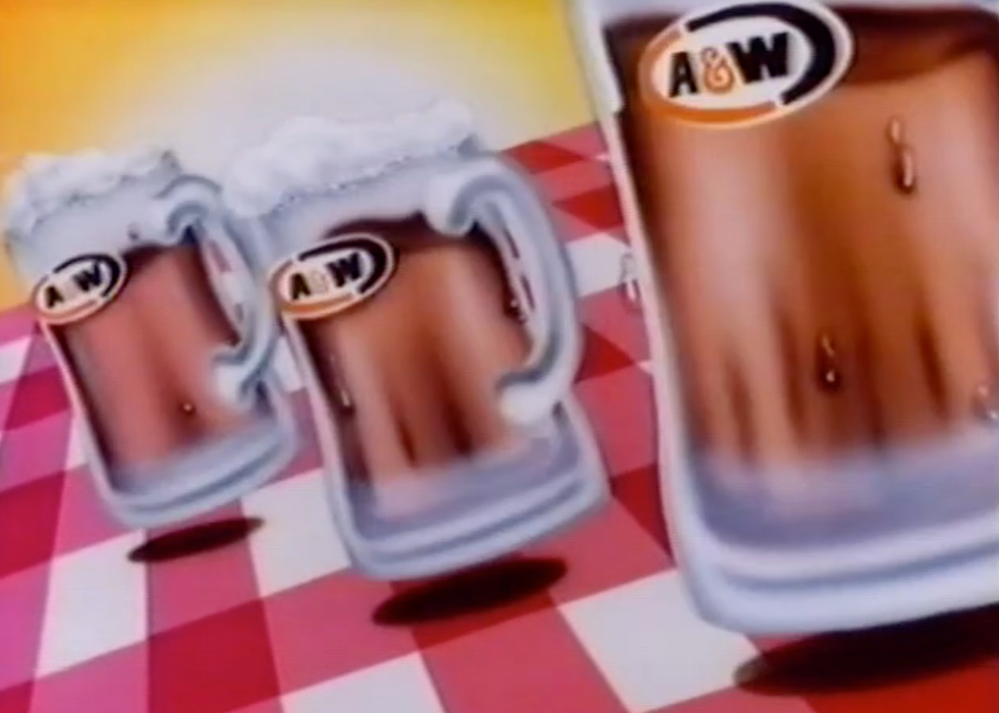 Drawing of three A&W Root Beer Mugs
