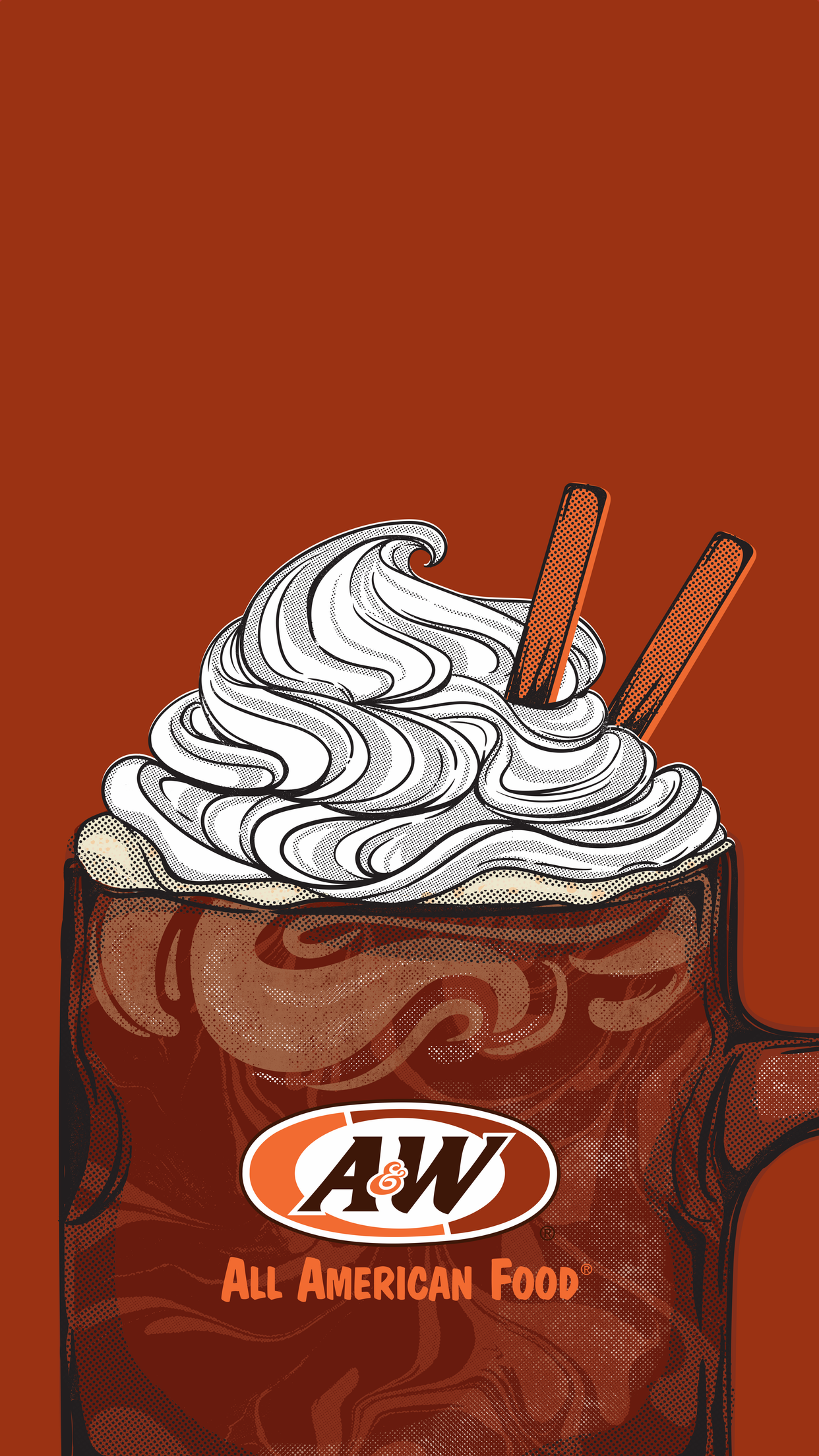Root Beer Float on brown background
