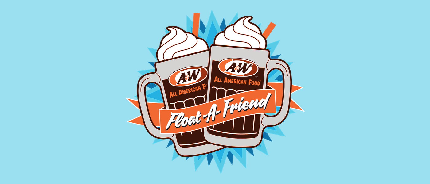 Background is light blue. Drawing of two A&W Root Beer Floats in the center with orange ribbon overlaid. Text inside ribbon is white and reads