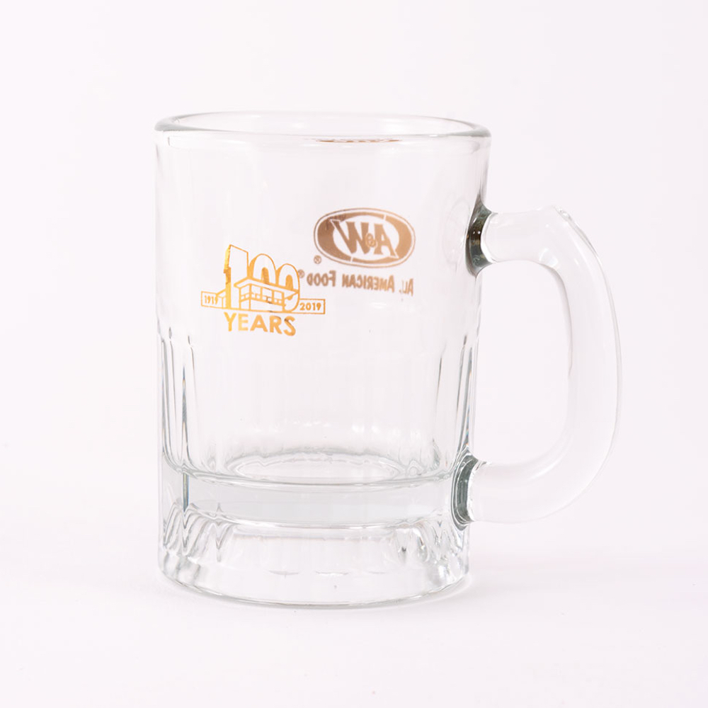 Baby Mug featuring A&W Restaurants 100th Anniversary logo in gold.