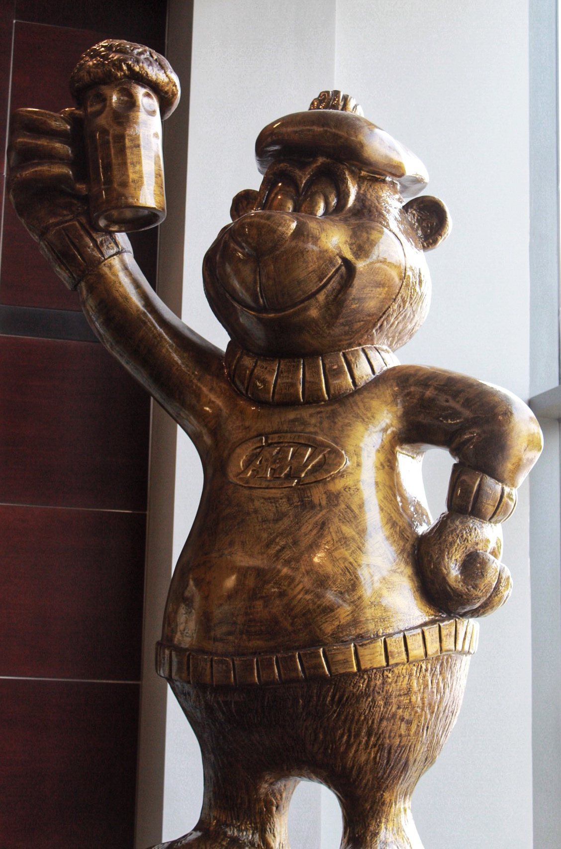 Gold statue of Rooty the Great Root Bear