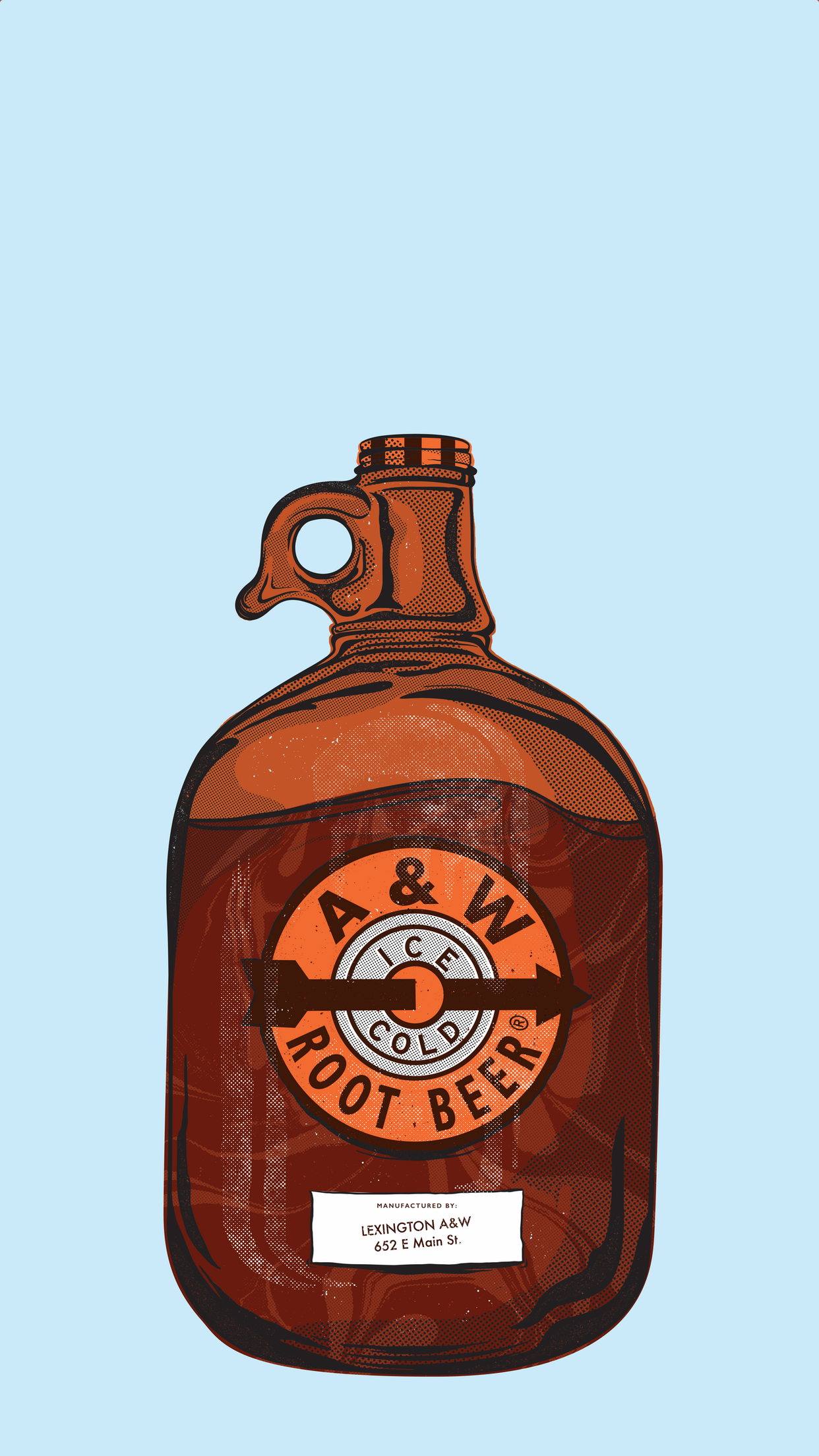 Growler on blue background