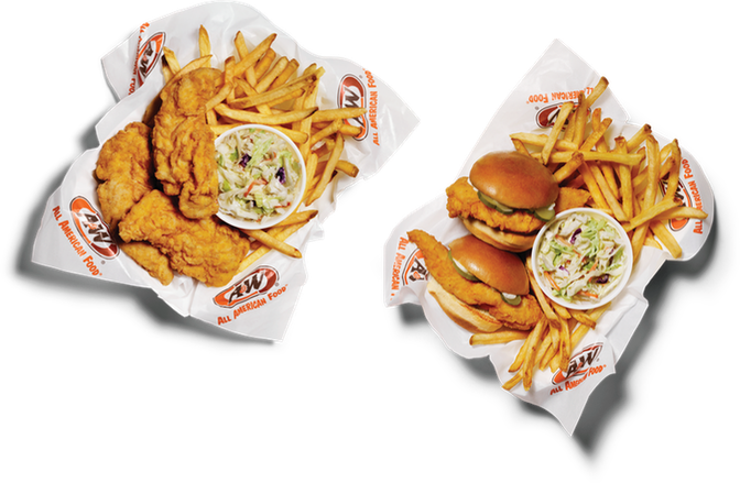 Left image of 3pc. Hand-Breaded Chicken Tender Basket with Fries and Slaw. Right image is a 2pc. Sliders with Fries and Slaw.