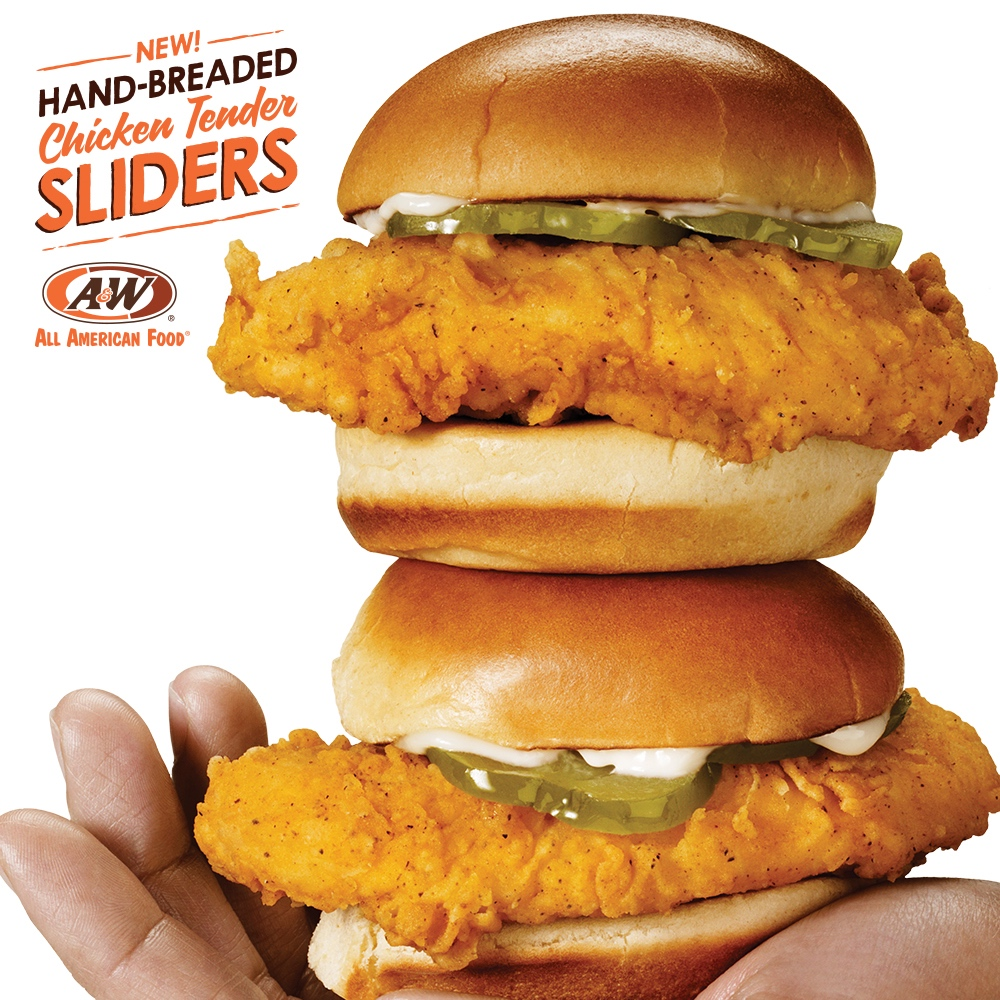 "Hand holding two Hand-Breaded Chicken Tender Sliders. Text in the top left of the image reads ""New! Hand-Breaded Chicken Tender Sliders"" with A&W Restaurants logo below text."