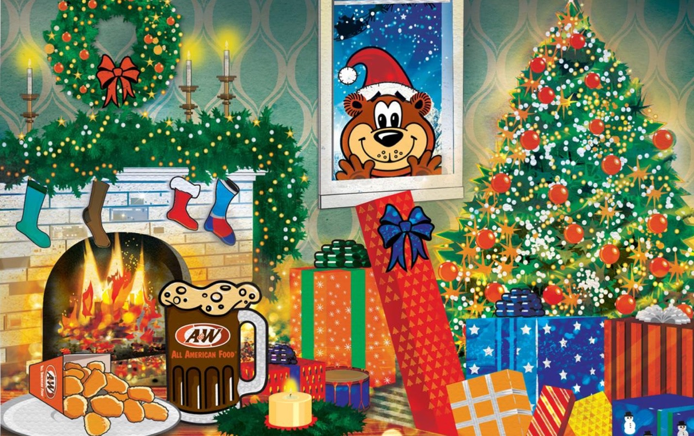 Rooty the Great Root Bear wearing a Santa hat, looking in house with Christmas tree, fireplace, presents, Root Beer, and Cheese Curds