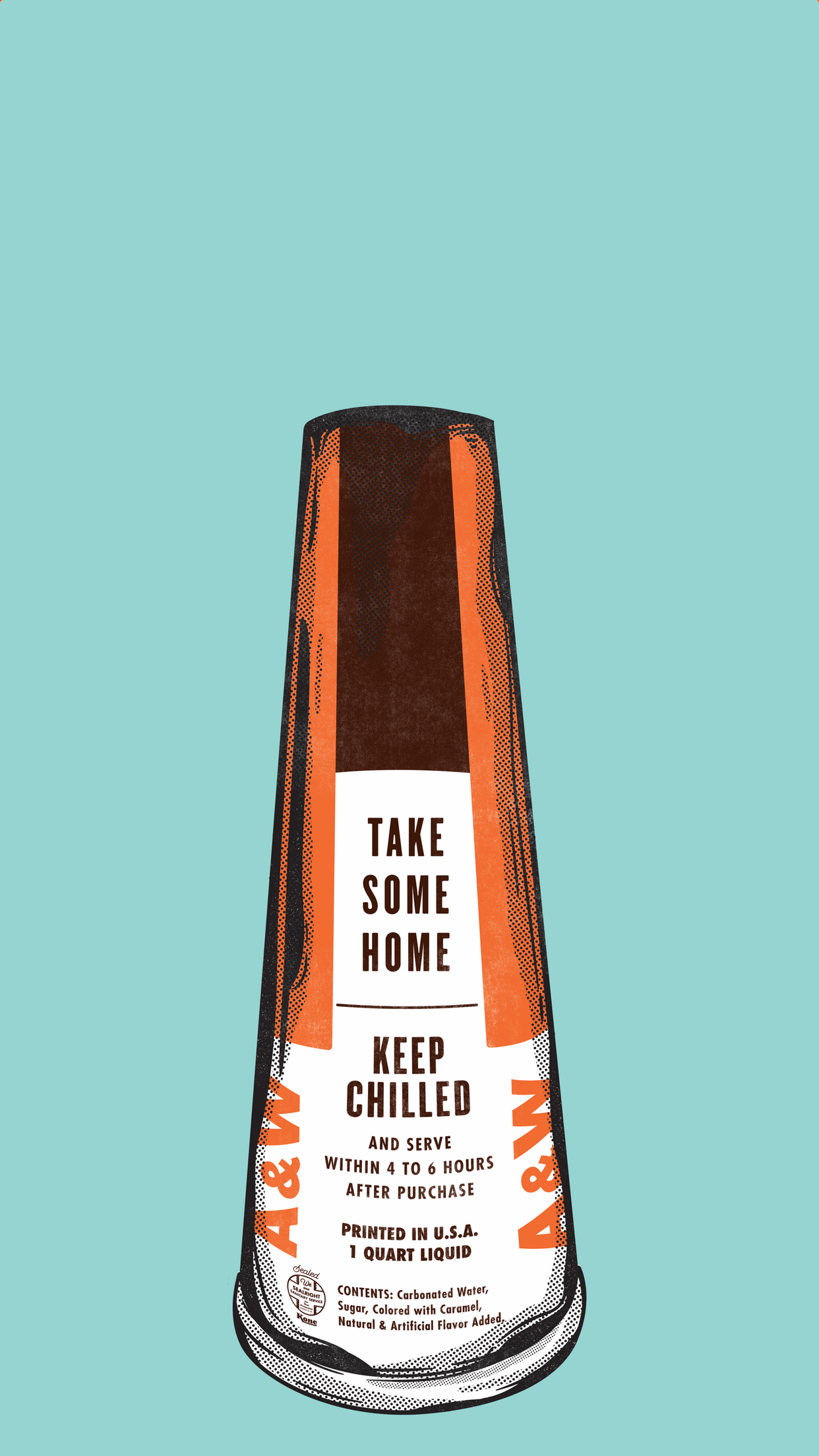 Root Beer megaphone on light blue background