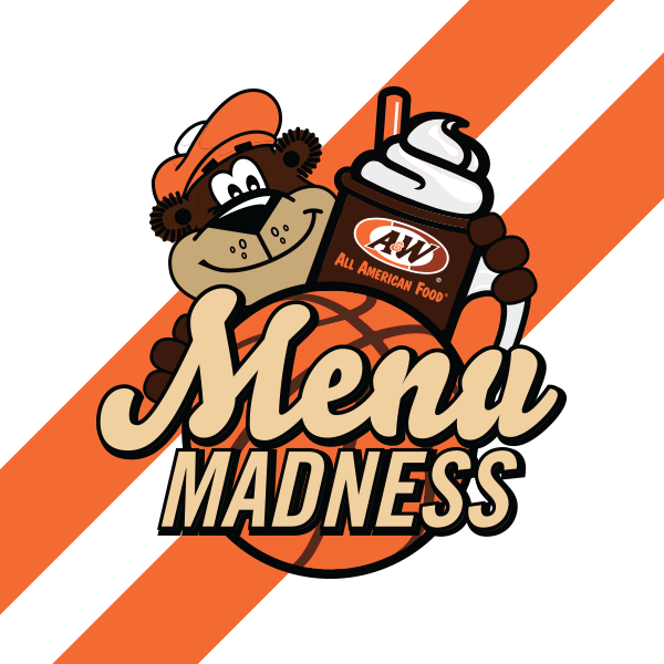 "Rooty holding a Root Beer Float on top of a basketball. Text over the basketball reads ""Menu Madness"""