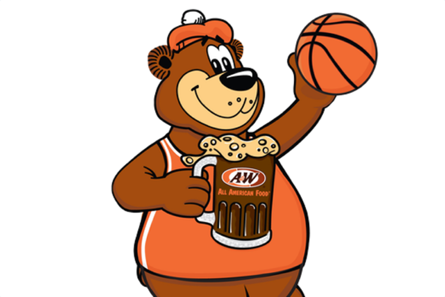 Rooty the Great Root Bear holding basketball in left hand and holding a mug of A&W Root Beer in right hand.