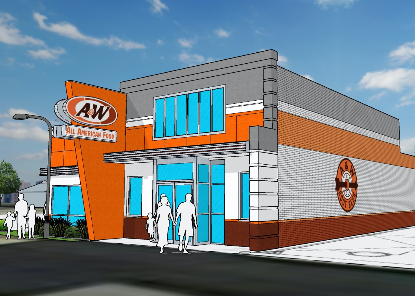 Rendering of A&W Restaurant building exterior